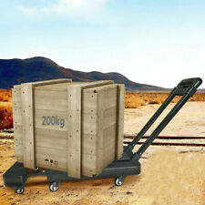 440lbs Folding Luggage Cart Hand Truck Dolly Push Collapsible Trolley With6 Wheels
