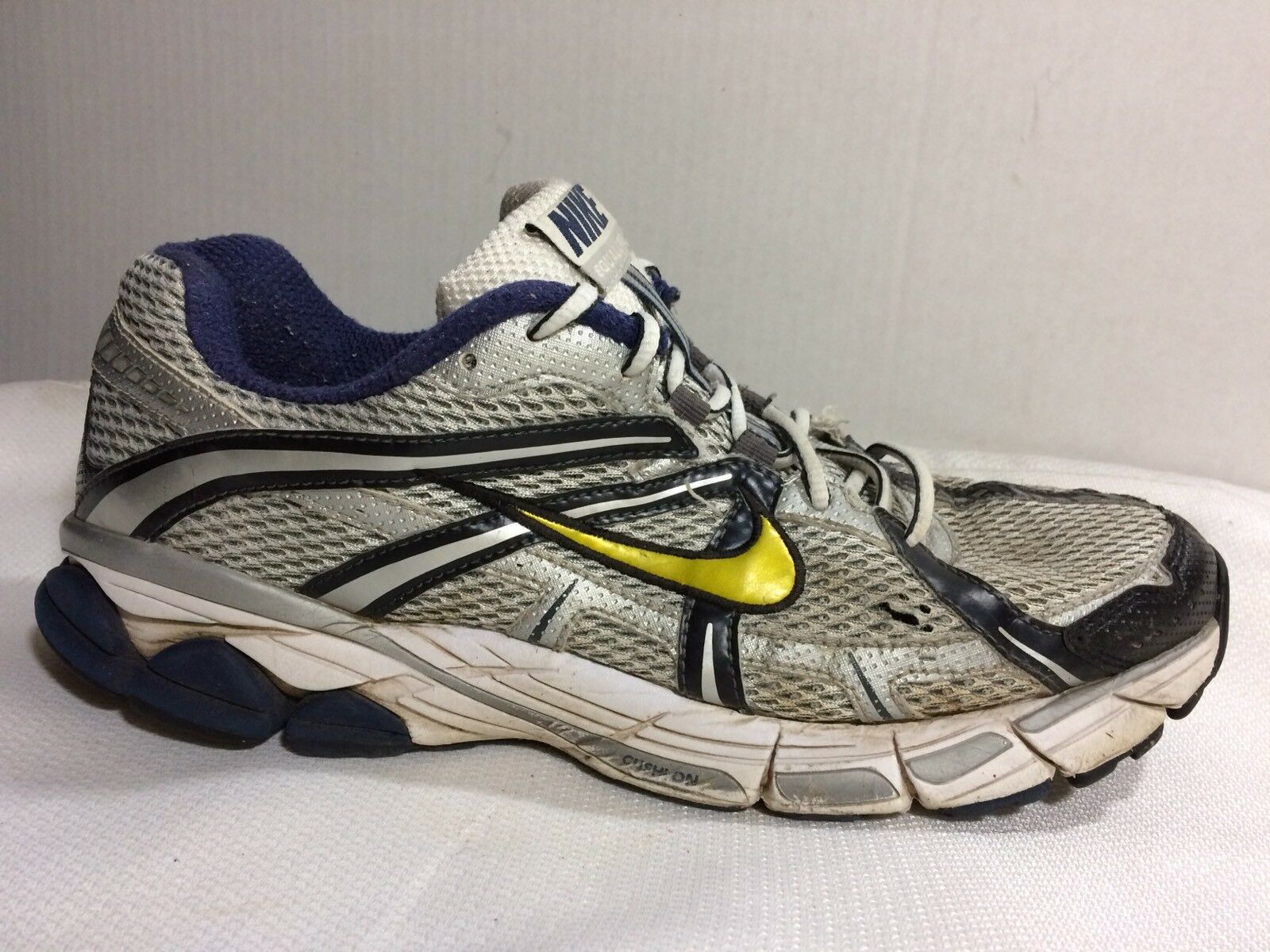 online store 6a620 90e0b Nike Equalon 3 + Running Shoes 333486 171 Silver Silver Silver Navy White  Mens 10.5 M