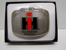 "IH ""Farming is our Business"" Brushed Pewter Enamel Belt Buckle"