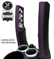 BLACK & PURPLE LEATHER 2X DOWN TUBES COVERS FITS BMW MINI COPPER S R50 R53 01-06