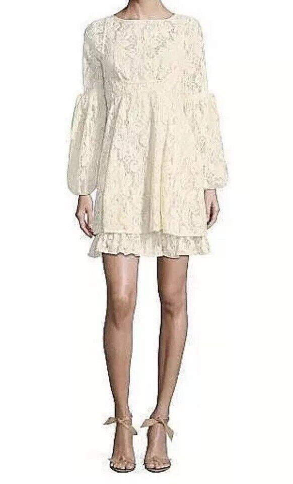 Free People OB725148 Long Sleeve Rubi Lace Mini Dress Ivory XS