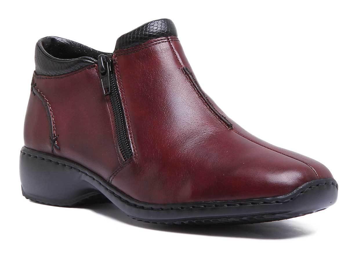 Rieker L3882 Womens Burgundy Leather Matt Ankle Boots Size Size Size UK 3 - 8 f5252c
