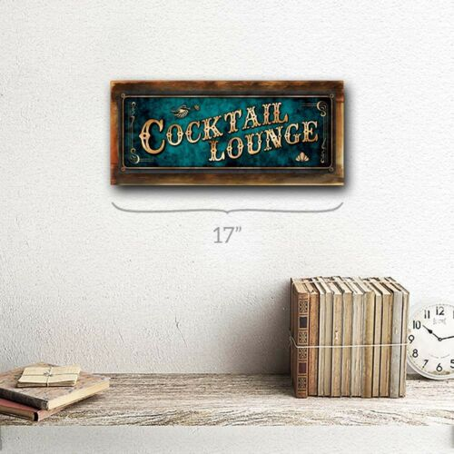 Blue Cocktail Lounge Metal Sign; Wall Decor for Home and Office