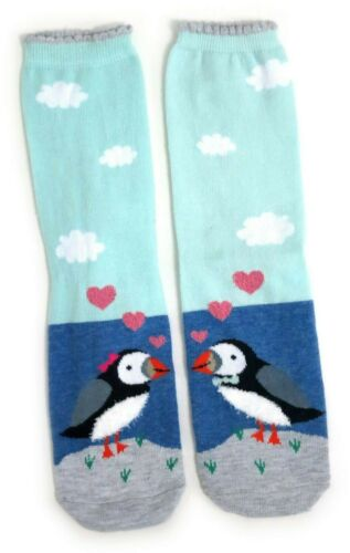LADIES PAIR OF PUFFINS IN LOVE BLUE SOCKS UK SIZE 4-8 EUR 37-42 US 6-10