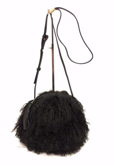 Ugg Australia Mongolian Hair Pom Crossbody Black Purse Tote 1091829