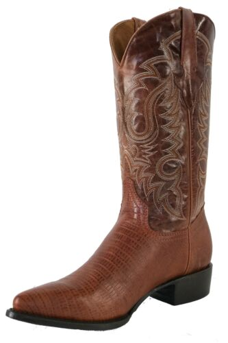 Men/'s New Leather Lizard Design Rodeo Western Cowboy Boots J Toe Brown Cognac