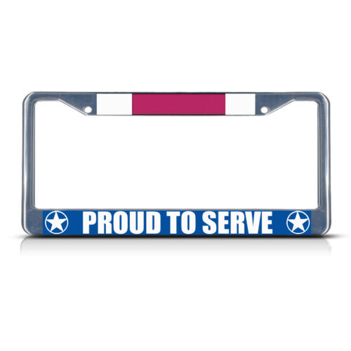 LEGION OF MERIT PROUD TO SERVE Metal License Plate Frame Tag Border Two Holes