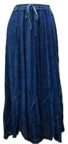 PLUS SIZE BOHO HIPPIE FLORAL EMBROIDERED SCALLOPED HEM GYPSY SKIRT SIZE 10 to 22