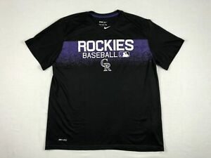 NEW-Nike-Colorado-Rockies-Black-Dri-Fit-Short-Sleeve-Shirt-Multiple-Sizes