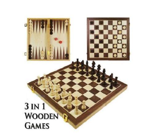 VETRO tradizionali in legno magnetico da viaggio SCACCHIERA 32 PZ Divertimento Giochi Di Scacchi