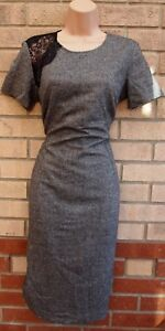 PIED-A-TERRE-GREY-BLACK-LACE-INSERTED-35-WOOL-PENCIL-BODYCON-WORK-DRESS-8-S