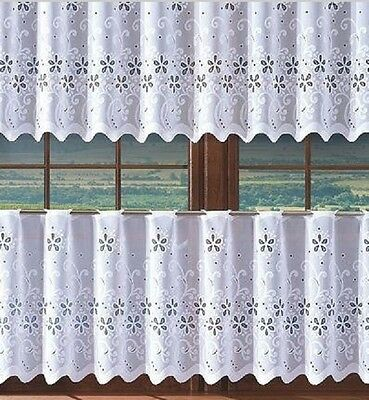 Intellective Floral White Kitchen Cafe Net Curtain - Sold By Meters Finished Eyelet Top Matige Prijs