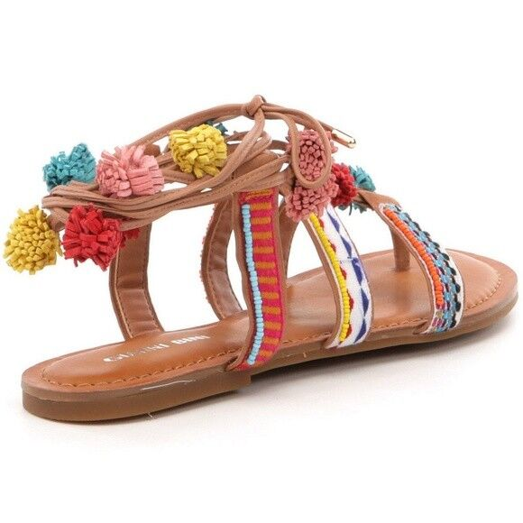 Women Gianni Bini Jeronimo Lace-Up Pom-Pom Flat Woven Sandals Sandals Sandals 88a5f2