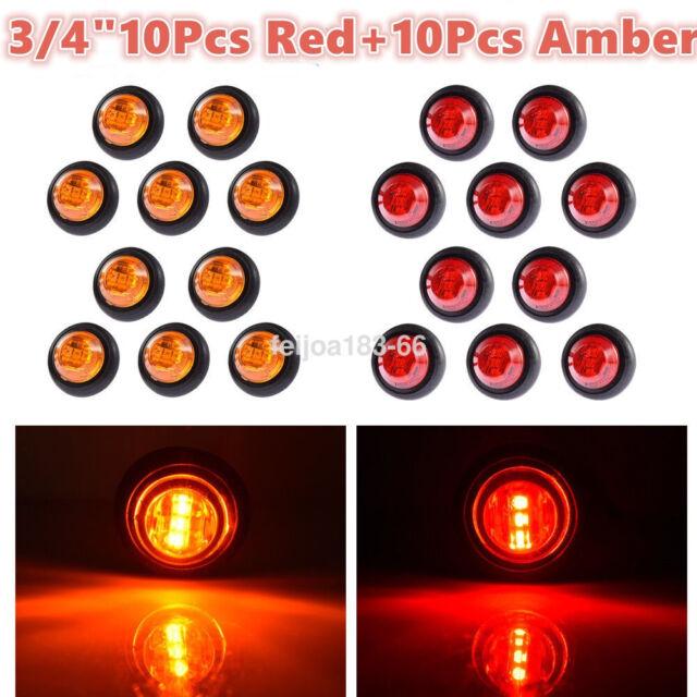 20x Red   Amber Led Bullet Side Marker Light Flush Mount