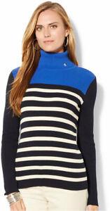 Ralph Lauren LRL logo Striped Ribbed Turtleneck Sweater navy blue Size M