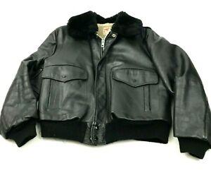 VINTAGE Excelled Flight Jacket Size 46 Reg Black Leather Coat Sherpa Bomber 60s
