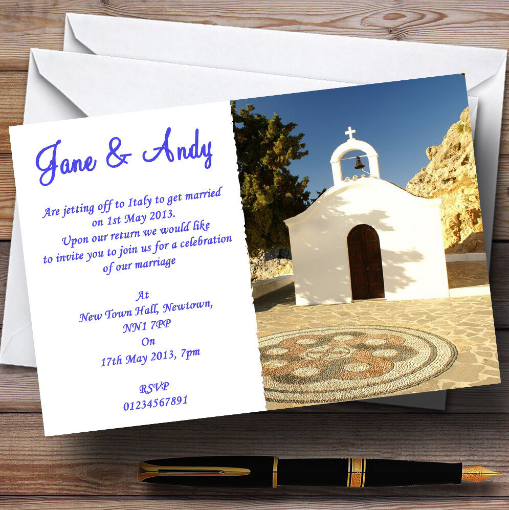 St Pauls Lindos Rhodes Jetting Jetting Jetting Off   Abroad Personalised Wedding Invitations 8396ec