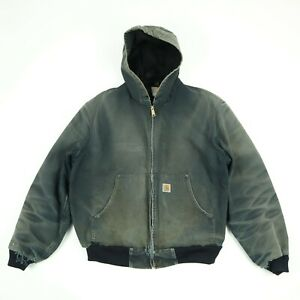 Destroyed-Carhartt-Hooded-Jacket-Coat-Sun-Faded-Honeycomb-Black-Distress-Grunge