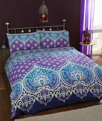 RüCksichtsvoll Indisch Henna Stil Lila Blau Baumwollmischung Breites Doppelbett 4-tlg Wir Haben Lob Von Kunden Gewonnen Bettwäsche