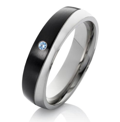 Verlobungsring Ehering Damenring aus Edelstahl mit Topas und Ring Gravur ES30