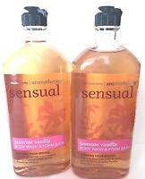 2 Bath & Body Works Aromatherapy Sensual Jasmine Vanilla Body Wash & Bath