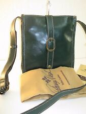 Patricia Nash Oil Rub Venezia Pouch Crossbody Antique Green Leather Bag $99