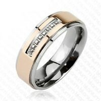 6mm Titanium Rose Gold Ip Center With Centered Micro Paved Czs Band Size 5 To 9