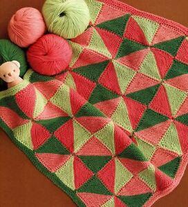 Knitting Pattern Babies Childrens Blanket Triangles Geometric eBay