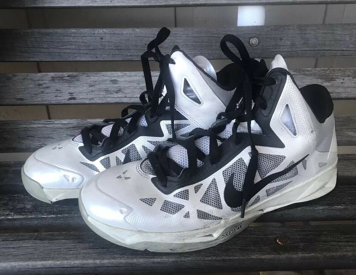 880422be5dfc NIKE ZOOM Size 8 Mid Top Sports Shoes BLACK BLACK BLACK White Mid Cut  BASKETBALL 536841