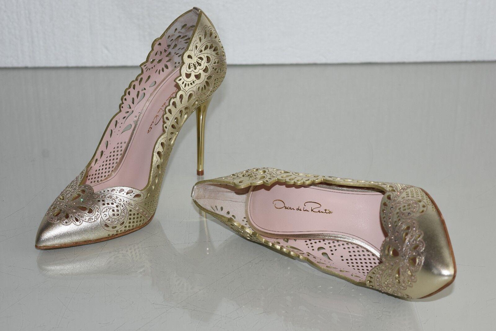 990 990  Nueva Oscar de la renta Mazie 100 Bombas Zapatos de joyería de cuero perforado 37 fedc1e