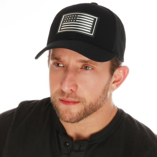 Men/'s 3D High Frequency Tactical Flag Flex Stretch Mesh Fitted Cap