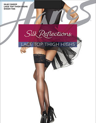 Hanes Silk Reflections Sandalfoot Jet Black Thigh-High Stockings Size EF