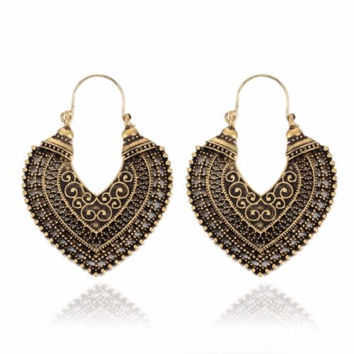 Women Boho Floral Gypsy Earrings Vintage Tribal Ethnic Festival Gift Indian Hoop