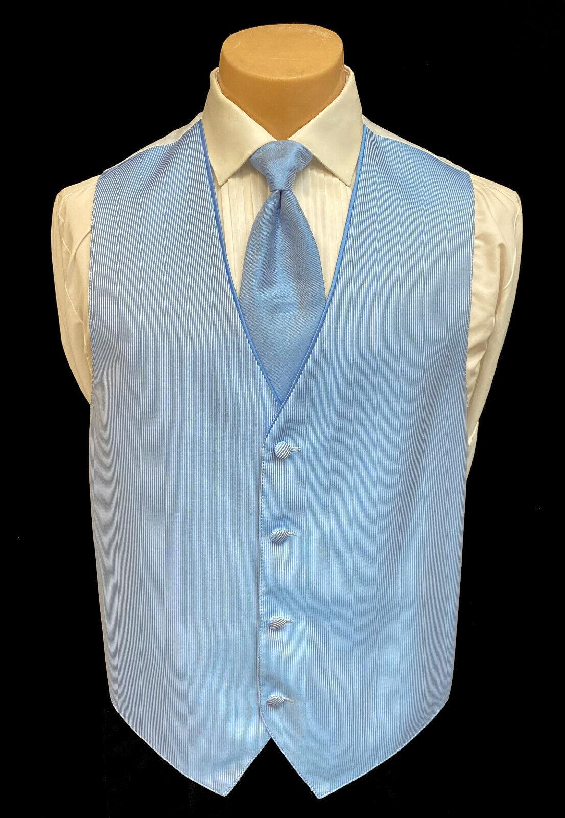 Men's Jean Yves Blue Tuxedo Vest and Tie Formal Wedding Groom Prom Medium M