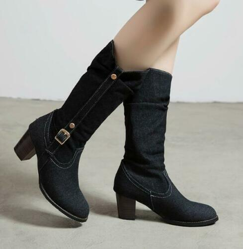 Details about  /Ladies Outdoor Middle Calf Denim Casual Boots Autumn Buckle Thick Heels Shoes