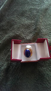 14KT-Solid-Yellow-Gold-Dark-Blue-Lapis-Cabochon-Size-7
