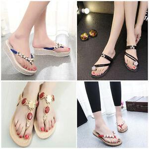 ac1f16936991 Image is loading Women-Bohemia-Beaded-Sandals-Clip-Toe-Herringbone-Sandals-