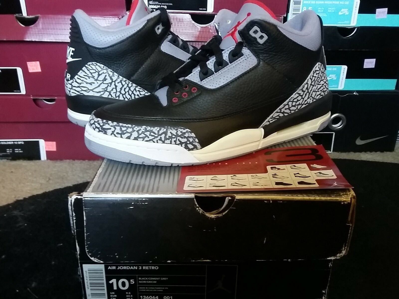 Nike Air Jordan III 3 Retro OG 2001 Black Cement Grey White Fire Red 136064 001