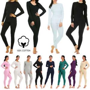 Women's 100% Cotton Waffle Knit Thermal Long Johns Underwear Top&Bottom 2PCs Set