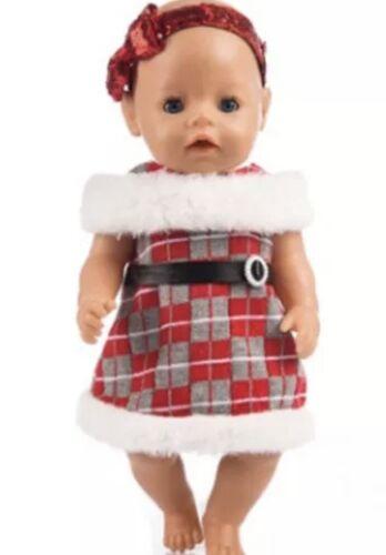 Bambole Abiti Natale ZB Rosso//Bianco//Grigio Vestito Baby Born 43 CM NUOVO