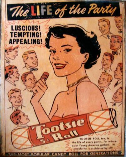 Life of the Party Tootsie Roll 5 Cents Candy Metal Sign