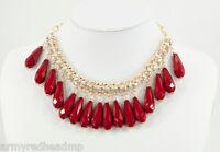 NWT Amrita Singh Gold Ruby Red Milly Crystal Courtney Friel Bib Necklace NKC 700