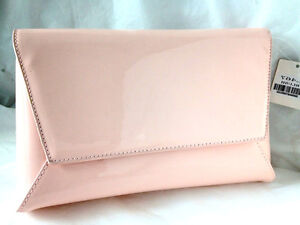 ac6009e7e4d21 NEW PALE BABY PINK FAUX PATENT LEATHER EVENING DAY CLUTCH BAG ...