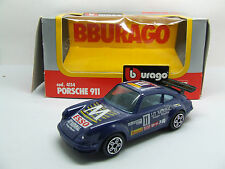 PORSCHE 911 ESSO LIT NATIONAL DARK BLUE BURAGO 1:43 MINT WITH BOX