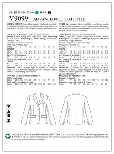 Vogu... Vogue Ladies Sewing Pattern 9099 Close Fitting Lined Jacket with Collar
