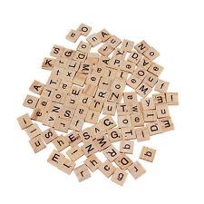 100 Holzern Alphabet Scrabble Fliesen Briefe & Zahlen Basteln Holz Spielzeug