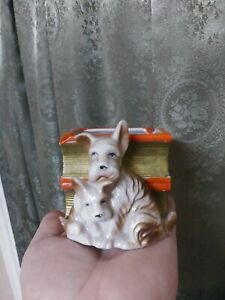 Vintage Planter Dog Puppy Dogs mid-century ceramic art decoration bucks so cute