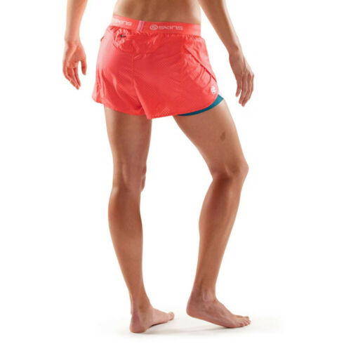 Skins Womens DNAmic Superpose Shorts Pants Trousers Bottoms Blue Pink White
