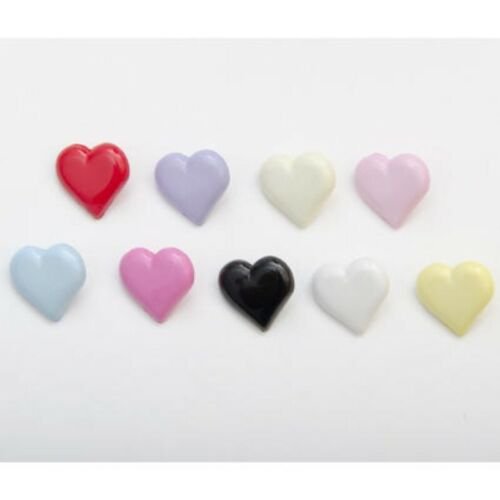 Heart Shaped Buttons 15mm Shank Sewing Plastic Novelty