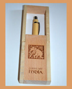 Teak-Wood-Engraved-Pen-Holder-Desk-Pen-Pencil-Stand-with-Pen-from-India